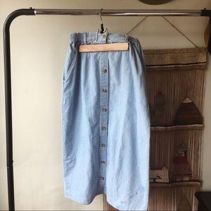 Vintage denim chambray button-up midi skirt